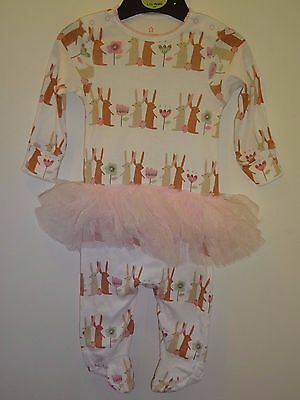 NEXT - Cute Baby Girls Little Bunny Tutu Sleepsuit Sleep Suit 3-6 Months VGC
