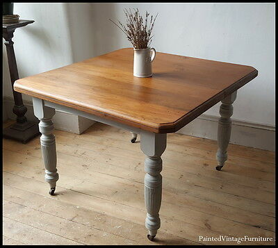 Stunning Hand Painted Vintage Antique Extending Dining Table