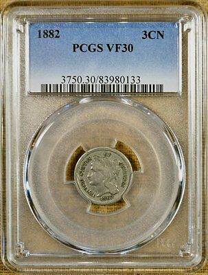 1882 PCGS VF30 Three Cent Nickel - Better Date