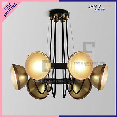 6 Light BRASS ROUND Chandelier BISTRO Vintage French Ceiling Fixture LED Gold