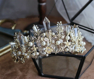 Crystal Pearl Gold Queen Crown Wedding Bridal Tiara Pageant Hair Accessories New