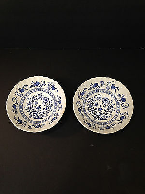 """J & G MEAKIN BLUE NORDIC """"Onion"""" English Ironstone Soup Cereal Bowls ENGLAND"""