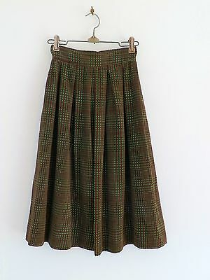 "Vtg 50s 60s Girls Brown Kelly Green Corduroy Mod Geometric Skirt 22"" Waist Sz 6"