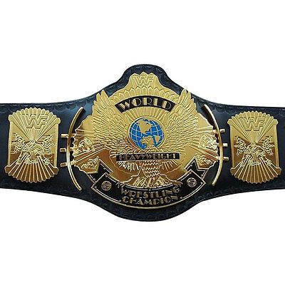 WWF/WWE Classic Gold Winged Eagle Championship Replica Belt 4mm Thick Plate, BLK