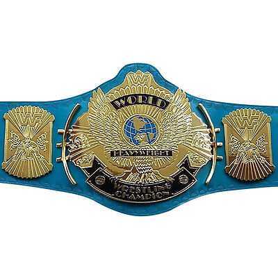 WWF/WWE Classic Gold Winged Eagle Championship Replica Belt 4mm Thick Plate Blue