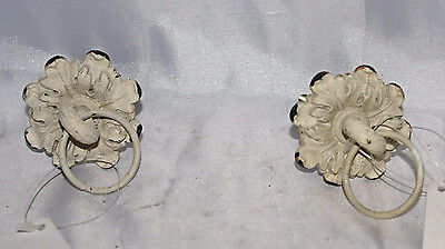 White Painted Drawer Knob Handle Pull Shabby Chic NEW Set or Lot of 2 Floral