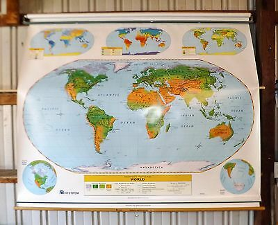 Nystrom Unites States-World Classroom School Wall Pull down Map US roll 2 layer