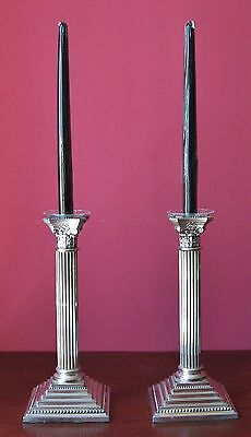pair 2 antique style silver plate candlesticks glass bobeche black candles taper