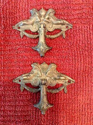 pair of fabulous antique brass cherub drawer pulls