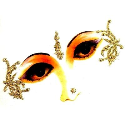 Gold / Silver Eye Corner Face or Body Gems  4 Piece Decoration Sticker Kits  (I)