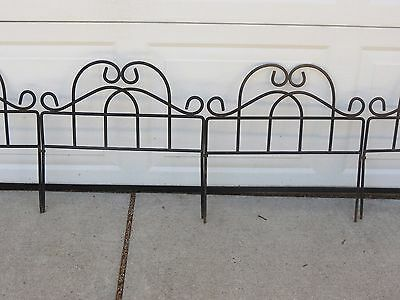 Vintage Lot 46' Total Feet Wrought Iron Garden Fence Sections Antique Edging