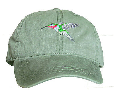 Broad-tailed Hummingbird Embroidered Cotton Cap NEW Hat Bird