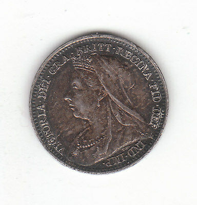 1897 Great Britain Queen Victoria Silver Threepence.  AU.