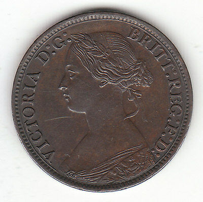 1866 Great Britain Queen Victoria 1 One Farthing.  High Grade.