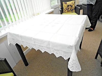 Vintage Lace Table Cloth. Cream Lace And Linen.