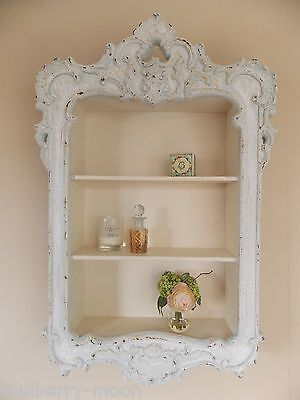 French Style Wooden Shabby Chic Carved Storage Shelving Unit
