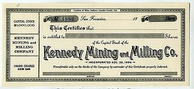Stock Certificate -  Kennedy Mining And Milling  Co. –  San Francisco Ca – 1886.