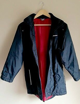 Reebok Jacket, dark navy with a cherry coloured lining. Retro vintage style