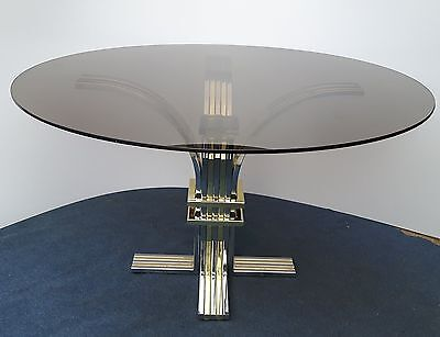 Art Deco Gold / Silver Base with Tempered Smoked Glass Round Table Top - Unusual