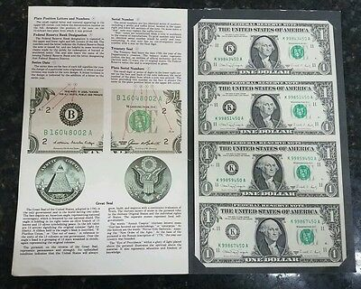 Bureau of Engraving and Printing 4 x 1988 $1 bills