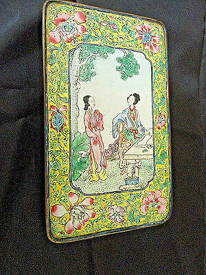 Antique Chinese Canton Enamel Rectangular Box with hinged  Lid