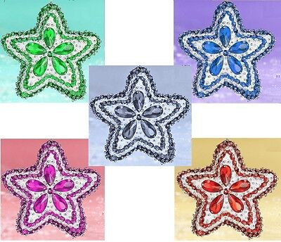"""""""Gemstone Star"""" kit makes 2 Christmas Ornaments Bead & Sequin Red,Green,Blue NEW"""