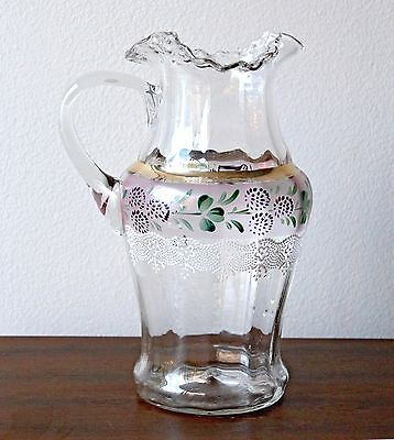 Early 1900s Fenton Ruffled Stretch Glass Lemonade Pitcher Hand-painted Clover