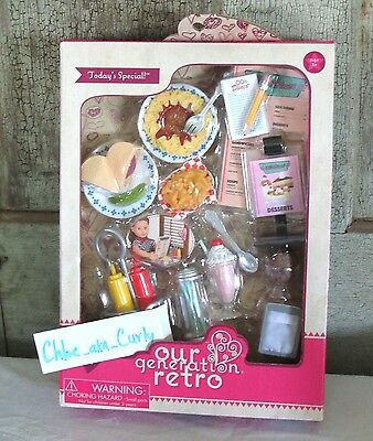 """Our Generation Retro Todays Special Diner Accessories Food Playset 18"""" Girl Doll"""
