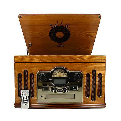 Back to the 50s Antique Wooden 3 Speed Turntable with CD Player