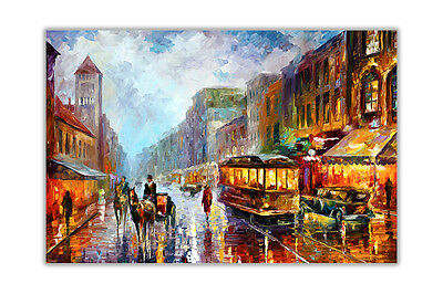 AT54378D 1925 Los Angeles By Leonid Afremov Oil Painting Reprint Poster Wall Art
