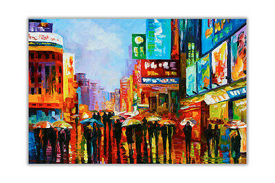 AT54378D Lights Of Down Town New York By Leonid Afremov Poster Print Wall Art