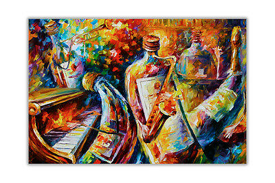 AT54378D Bottle Jazz Players By Leonid Afremov Poster Art Prints Home Decor