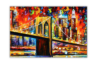AT54378D Brooklyn Bridge by Leonid Afremov Oil Painting Re-Print Wall Pictures
