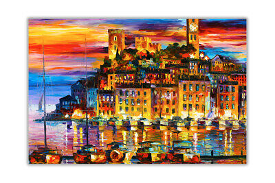 AT54378D Cannes France By Leonid Afremov Poster Wall Art Oil Painting Re-print