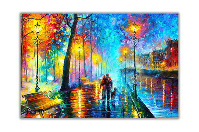 AT54378D Melody Of The Night By Leonid Afremov Wall Decor Abstract Poster Prints