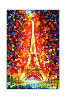AT54378D Paris Eiffel Tower By Leonid Afremov Poster Wall Art Painting Re-Print