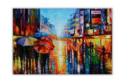 AT54378D Night Umbrella By Leonid Afremov Oil Painting Re-Print Poster Art Print