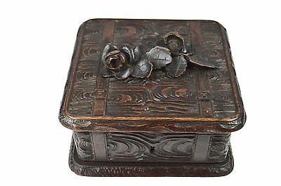 Antique Hand Carved Jewellery Box, Black Forest, Germany.