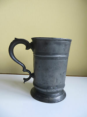 Large Old Antique Pewter Stamped Quart Tankard Engraved Victorian? Initials JH