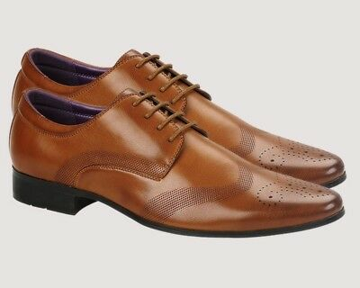 Mens Faux Leather Shoes New Italian Smart Formal Wedding Office Party Shoes Tan