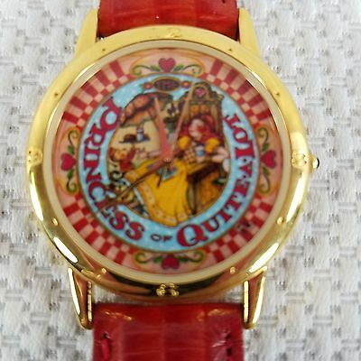 ME Mary Engelbreit Red Gold Princess Of Quite A Lot Ladies Watch Leather Band