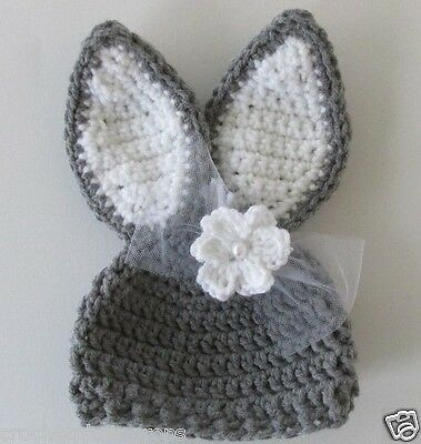 Bunny hat Gray with bow and flower Babies to Adult Handmade Crochet Knit USA Sel