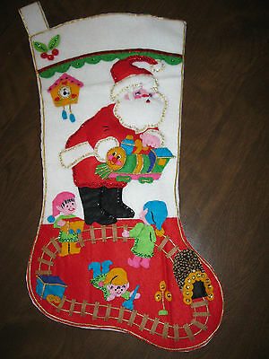 "FINISHED stocking ""Santa's Train"" Elves, tunnel, track, clock, holly"