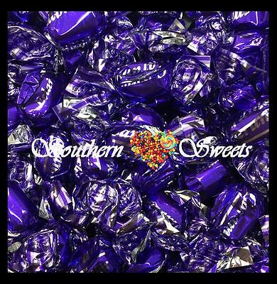 Purple Lollies Shiny Wrapped Eclairs Caramel Flavour 1Kg Bag Silver Lollies