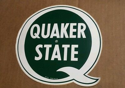 Large 8 INCH QUAKER STATE VINTAGE STYLE DECAL STICKER MAN CAVE GAS STATION PUMP