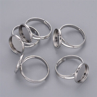 10x Platinum Color Brass Ring Blanks Bases fit 12mm Cabochons Nickel Free 17mm
