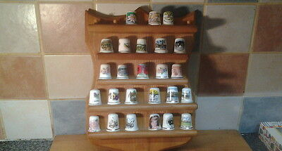 Nice Wooden Plaque With 25 Collectors Thimbles
