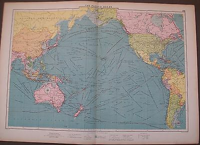 1920 Pacific Ocean USA South America China Russia Mercantile Map Shipping Routes