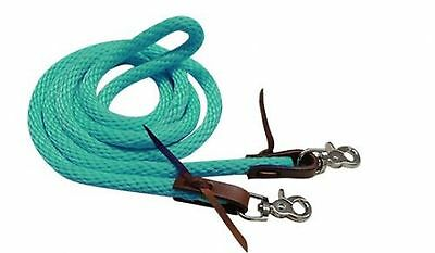 Showman TEAL 8' Derby Nylon Barrel Reins With Scissor Snap Ends! HORSE TACK!