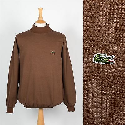 Mens Vintage Lacoste Rare Roll Turtle Neck Sweater Sweatshirt 80's Eighties L